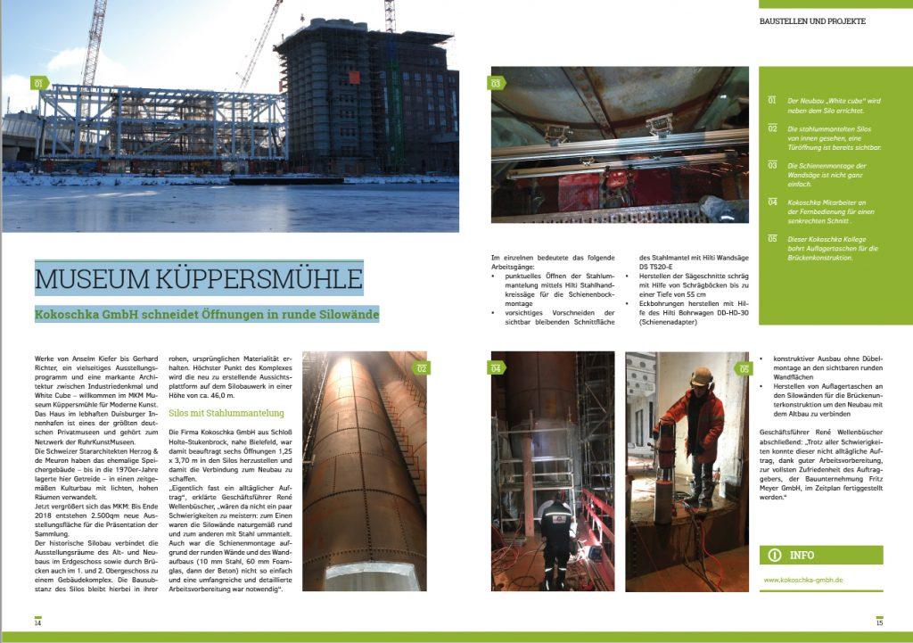 MUSEUM KÜPPERSMÜHLE : Kokoschka GmbH schneidet Öffnungen in runde Silowände