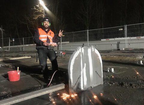 Demontage Brückenkappen und Beton zwischen Stahlbindern